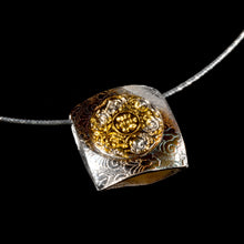 Load image into Gallery viewer, Double sided pendant pure silver/ 24K Gold foil
