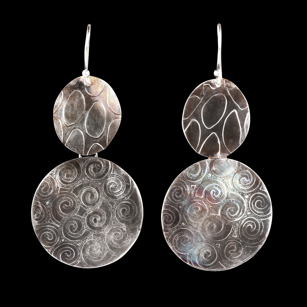 Textured sterling silver earrings