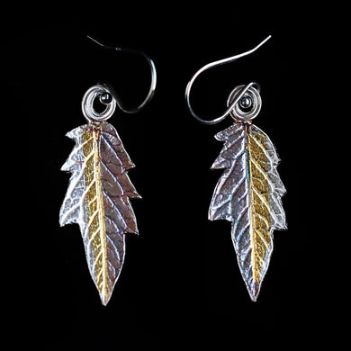 Tomato Leaf Earrings Silver Gold