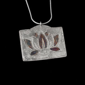 Etched Lotus Pendant Sterling Silver