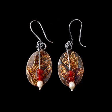 Coral Pattern Textured Earrings with Pearl and Carnelian Beads