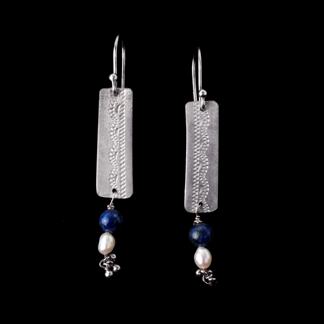Engraved Silver Earrings with Lapis and Pearl Dangles