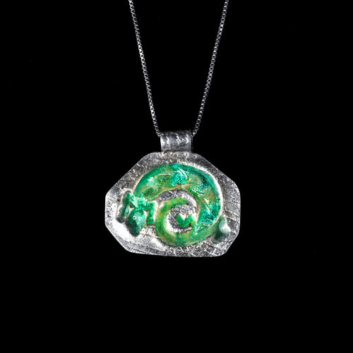 Curled Gecko Silver Enameled Pendant