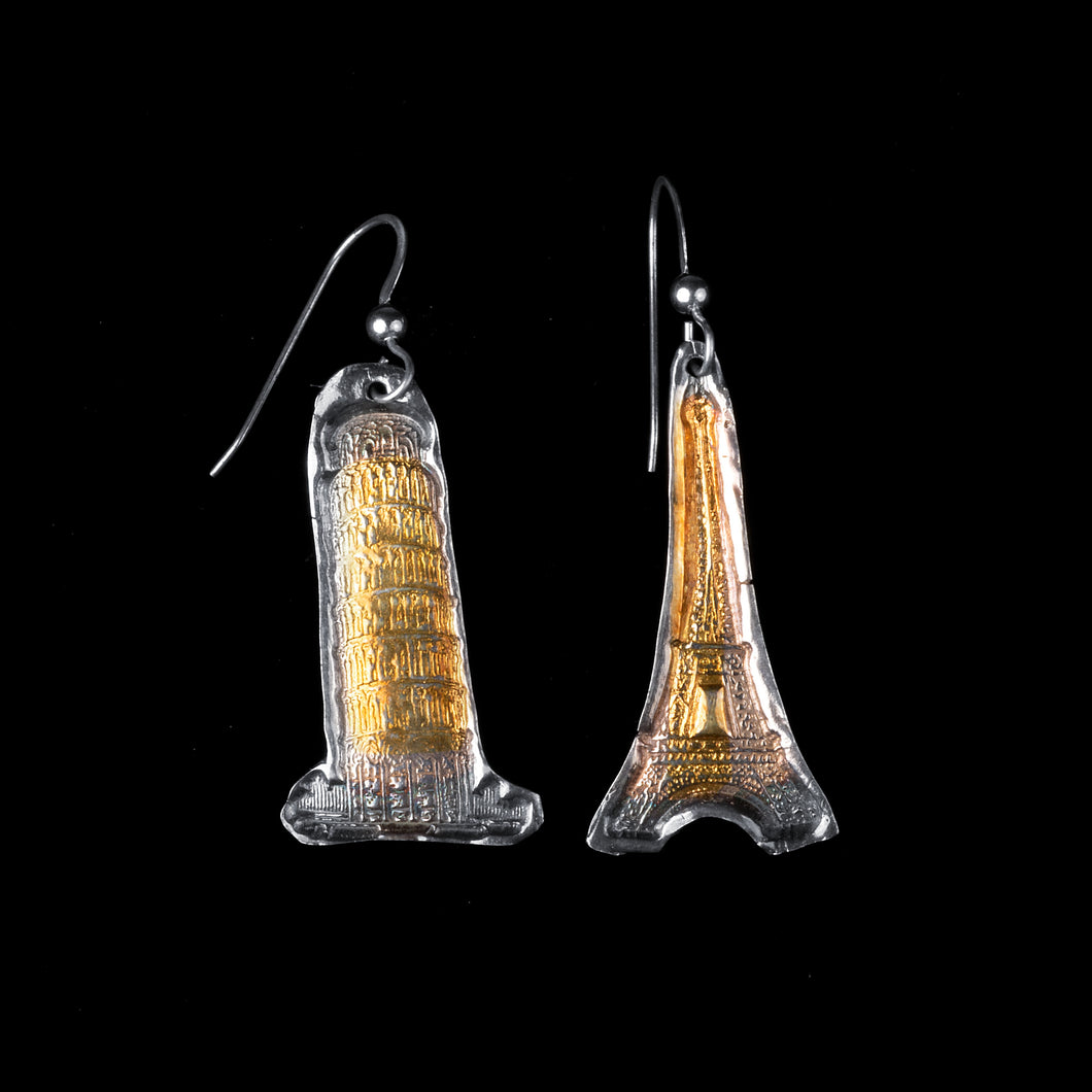 Silver and Gold Tower Earrings
