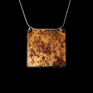 Textured Copper Square Enamel Pendant 2 sided.