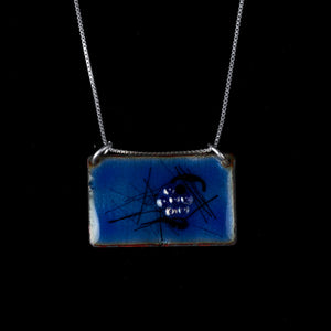 Blue Scarab Rectangular Copper Pendant 2 sided