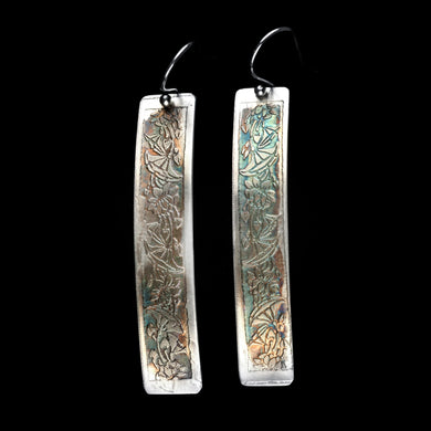 Etched Floral sterling silver curved Earrings
