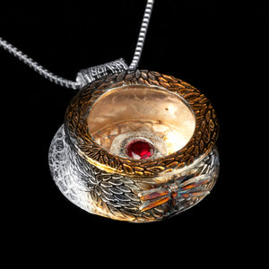 Chrysanthemum Box Pendant with Red Lab Ruby and Dragonfly