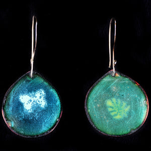 Earrings Enameled Blue green And Etched