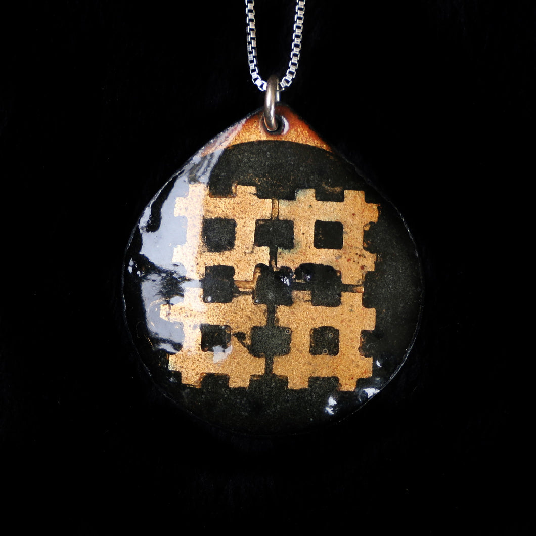 Pendant Black And Orange Grid Pattern