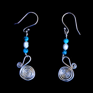 Earrings Egyptian coil, Turquoise And pearl