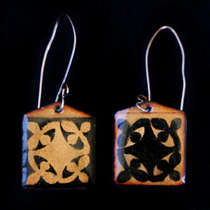 Etched Enameled Earrings With Reverse Japanese Design