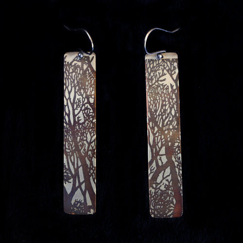 Bi Metal Etched Tree Earrings