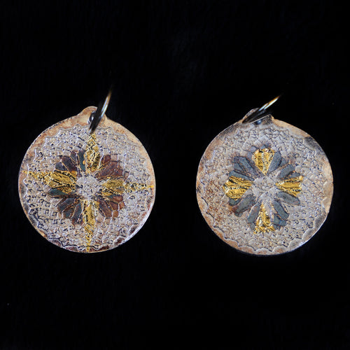 Filigree Flower In Gold And Silver Earrings