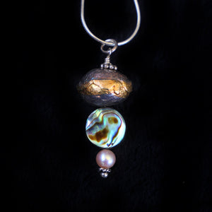 Pendant With Silver bead, Abalone Shell And Pink Pearl