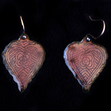 Load image into Gallery viewer, Etched Heart Earrings Two Sided Copper