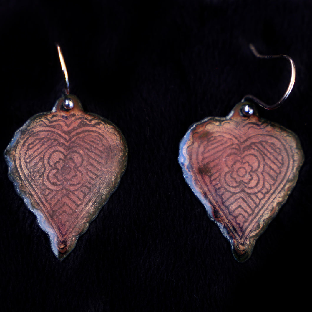 Etched Heart Earrings Two Sided Copper