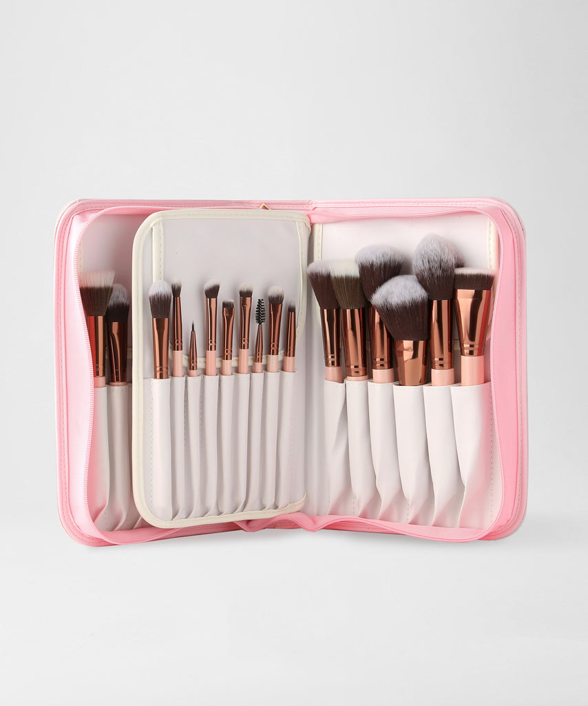 LUXIE 30 Piece Brush Book Set Rose Gold
