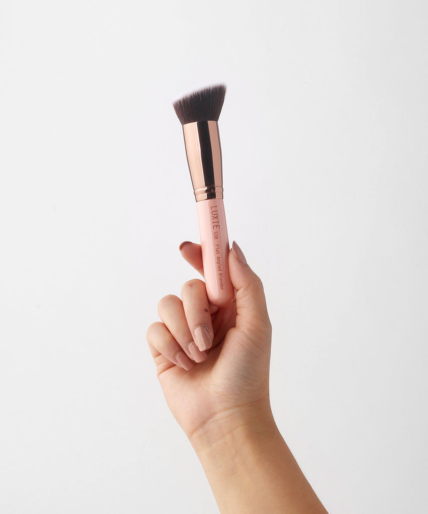 LUXIE 538 Flat Angled Blender Brush - Rose Gold - luxiebeauty