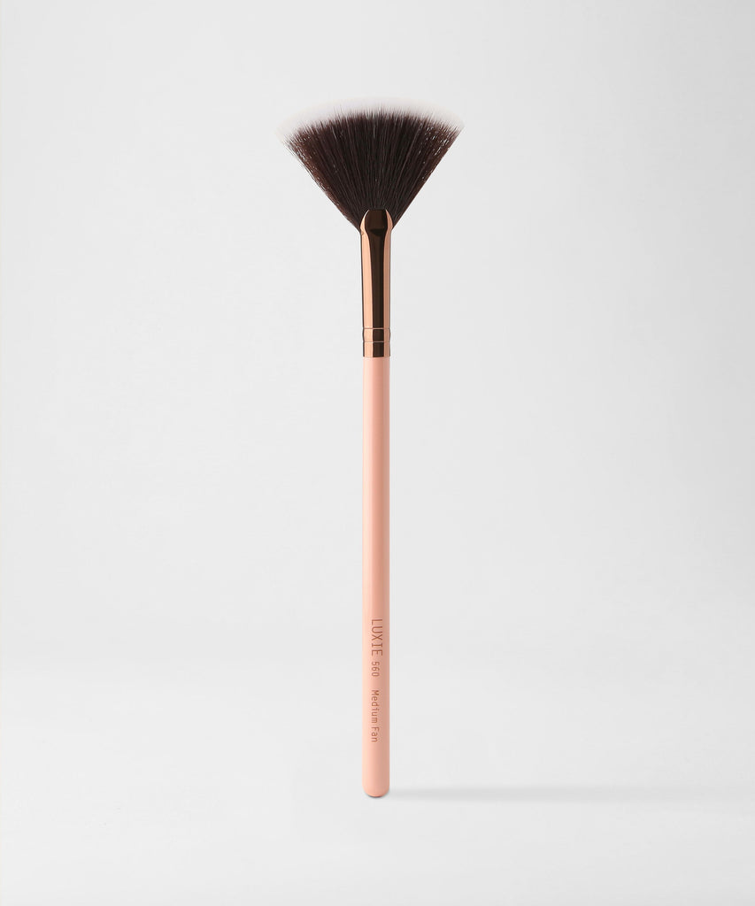 LUXIE 560 Medium Fan Brush - Rose Gold - luxiebeauty