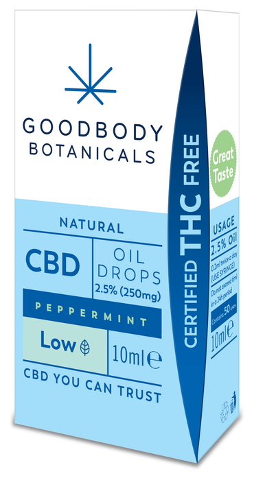 Goodbody Botanicals - CBD Oil Drops LOW - 2.5% Peppermint (250mg CBD) 10ml