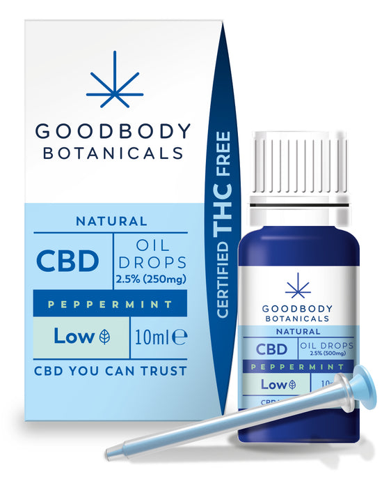 Goodbody Botanicals - CBD Oil Drops LOW (DOUBLE PACK) - 2.5% Peppermint (250mg CBD) 10ml