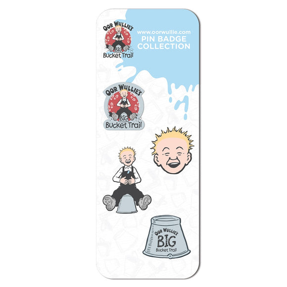 Oor Wullie Bucket Trail Pin Badge Collection