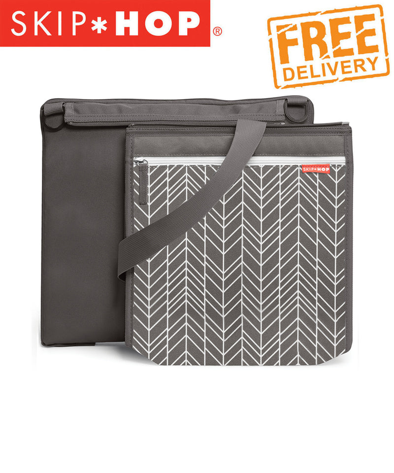 Skip Hop Central Park Outdoor Blanket and Cooler Bag Grey Feather Print