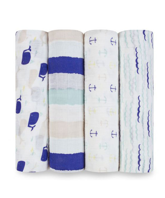 Aden + Anais Classic Swaddles 4 Pack - High Sea