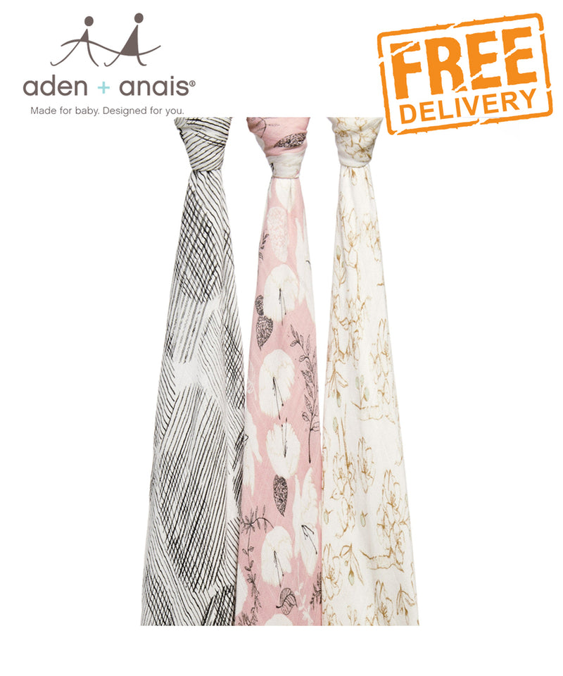 Aden + Anais Bamboo Swaddles 3 Pack - Pretty Petals