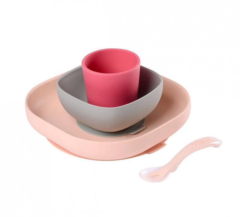 Beaba Silicone Meal Set 4 Piece - Pink