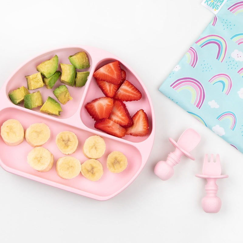 Bumkins Silicone Grip Dish + Chewtensils® Set - Various Colours