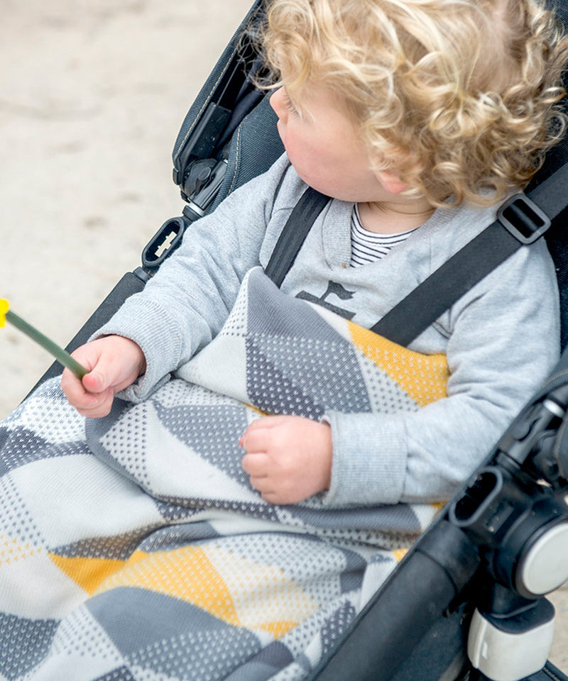Weegoamigo Bamboo/Cotton Knitted Baby Blanket - Geo Charcoal