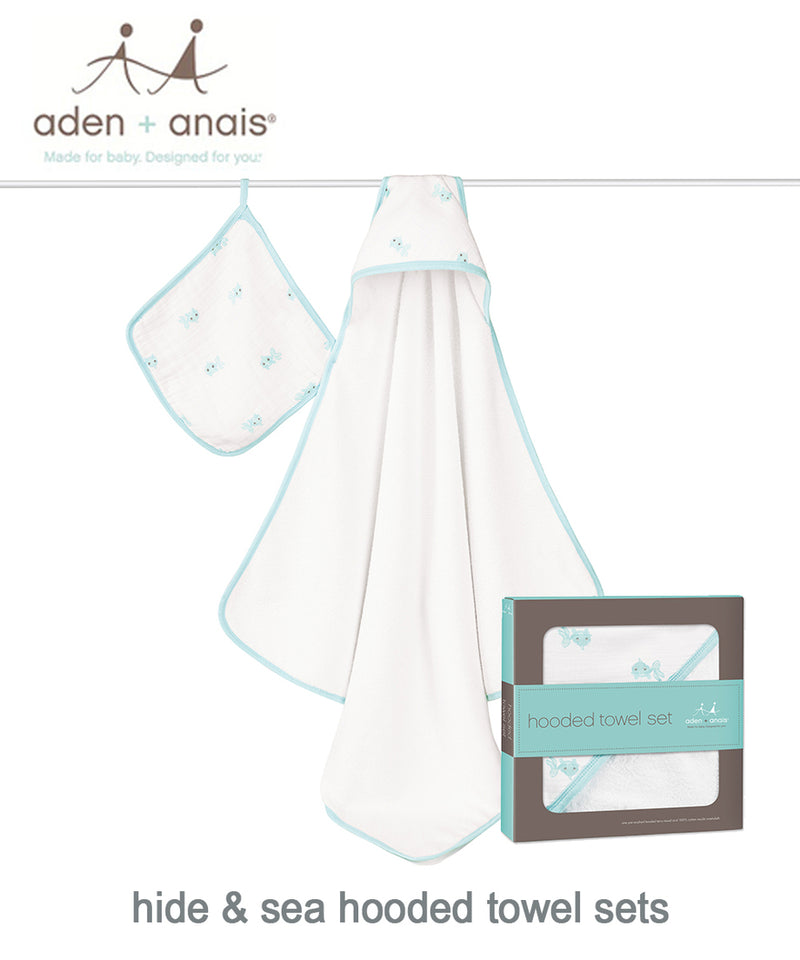 Aden + Anais Hooded Towel and Washcloth Set - Various Prints