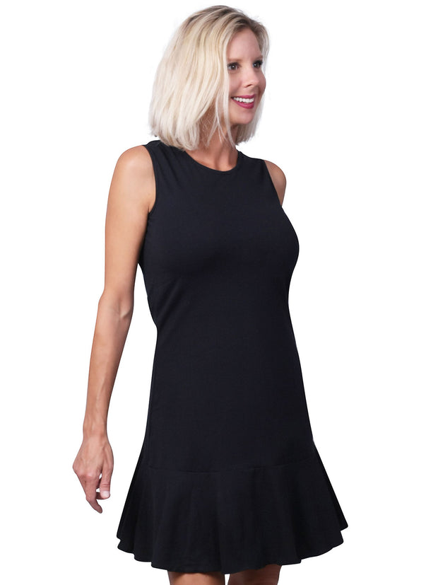 MJ Sleeveless Solid Flounce Dress