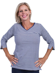 Nicole Stripe 3/4 Sleeve Top