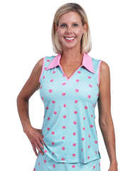 Clare Printed Sleeveless Polo Top