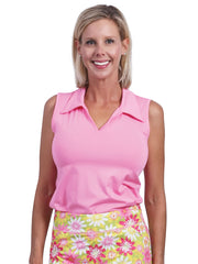 Clare  Solid Sleeveless Polo Top