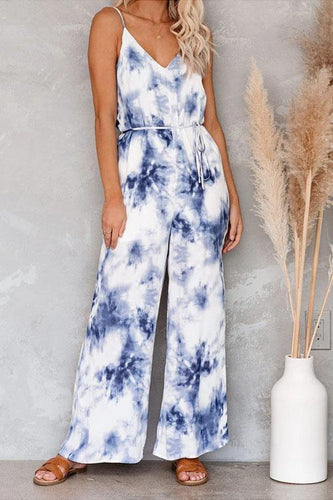 Kyledress Blue and White Tie Dye Wide Leg Jumpsuit