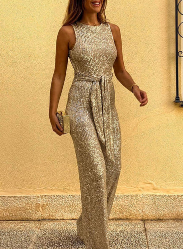 Waist Tie Sleeveless Sequin Jumpsuit