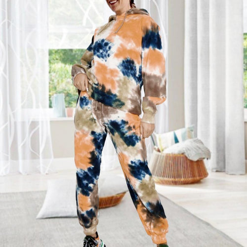 Fashion Cozy Hoodie Tie Dye Lounge Set