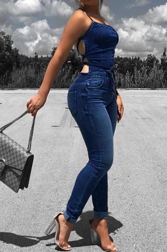 Strap Back Cutout Denim Jumpsuit
