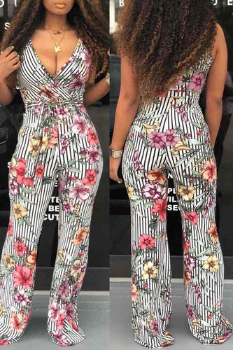 Suspended Print Lace-up Slim Jumpsuit