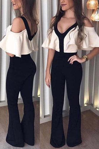 V Neck Ruffle Sleeve Jumpsuit