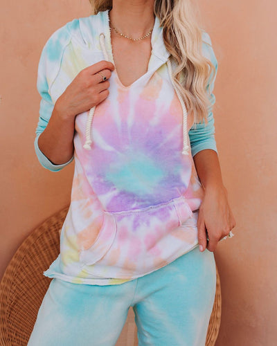 Utopia Cotton Blend Pocketed Tie Dye Hoodie