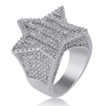 DIAMONDSHAPE 100007323 7 / White Gold New Design Gold Silver Color Five-pointed Star Ring Micro Paved Big Zircon Shiny Hip Hop Finger Ring for Men Women Gift