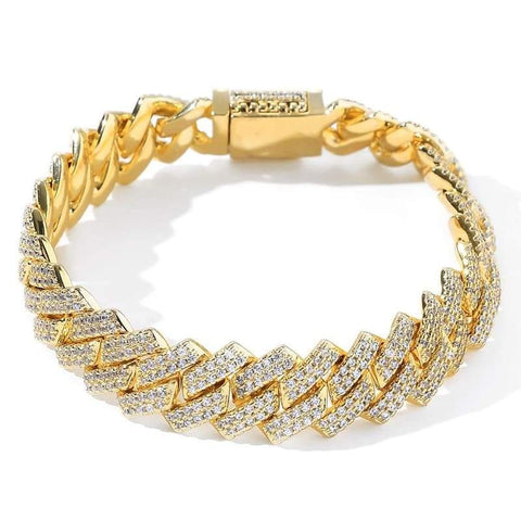DIAMONDSHAPE© 200000147 Gold / 7 inch Hip hop bracelet <br> Iced Out Cuban Link Bracelet <br> | DiamondShape©