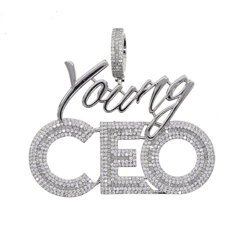DIAMONDSHAPE 200000162 High quality Hip hop bling men jewelry 5A cubic zirconia iced out bling baguette cz Young CEO pendant necklace rope tennis chain