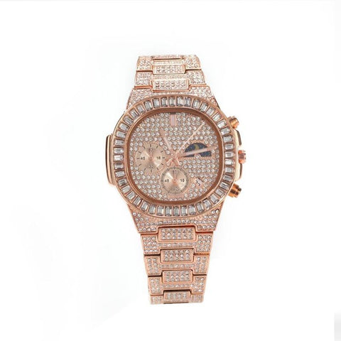 DIAMONDSHAPE© 200000162 Hip Hop Full Iced Out Multi-Function Stainless Steel Fashion Luxury Rhinestones Quartz Square Wristwatches Business Watch