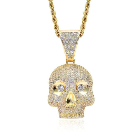 DIAMONDSHAPE 200000162 Hip Hop Pendant <br> Iced Out CZ Skull Head Pendant Necklace